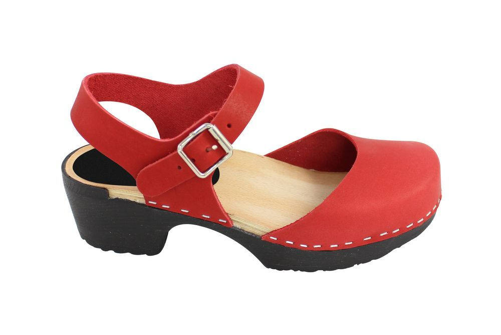 Lotta From Stockholm Soft Sole Red Täckt Mary Jane in Waxed Red Leather Side 2