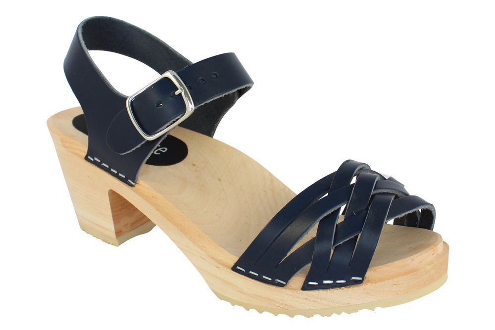 MyClogs June High Heel Braided Clog in Navy Blue main 2