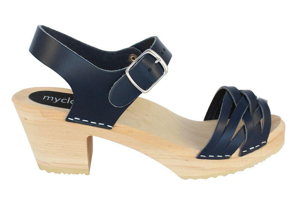 MyClogs June High Heel Braided Clog in Navy Blue Side