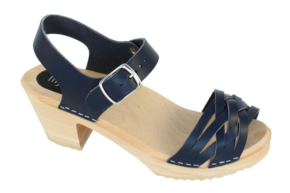 MyClogs June High Heel Braided Clog in Navy Blue Side 3