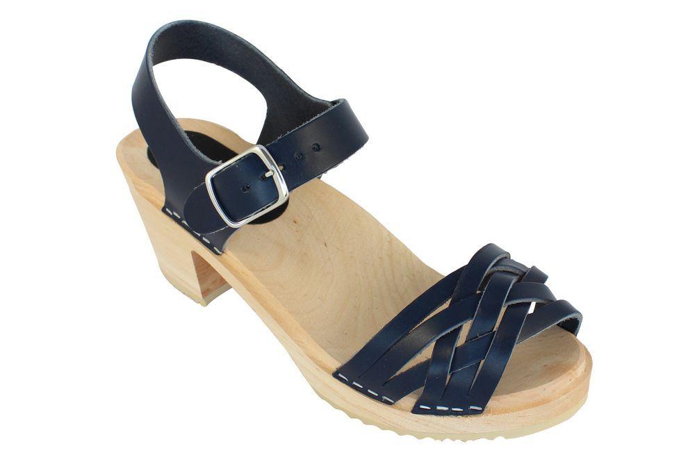 MyClogs June High Heel Braided Clog in Navy Blue