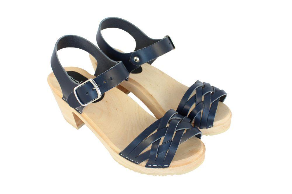 MyClogs June High Heel Braided Clog in Navy Blue Pair