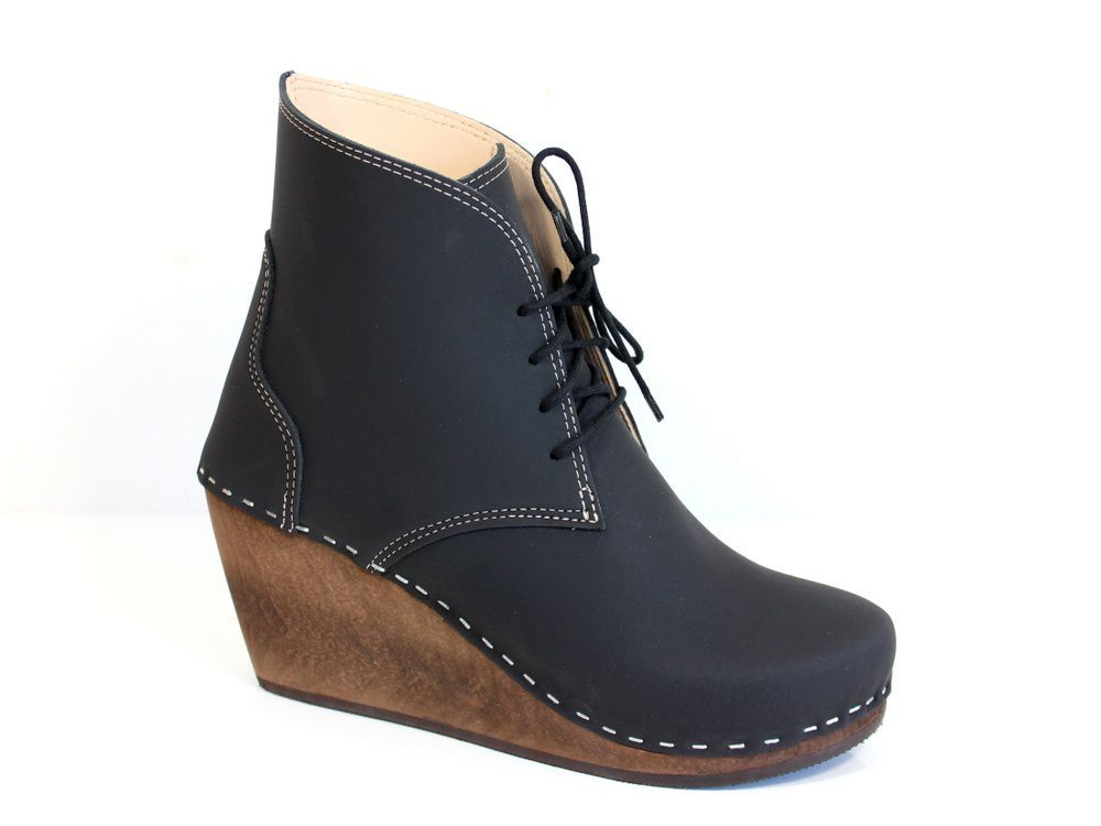 Maguba Casablanca Wedge Clog Boot Black