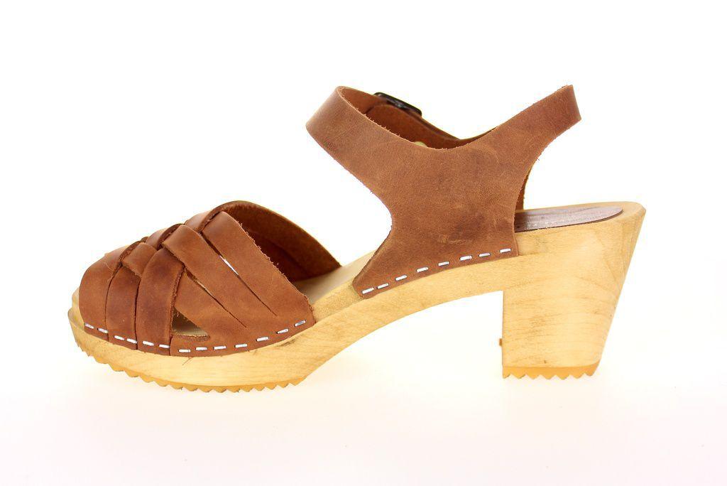 Moheda Betty Cognac Braided High Heel Clogs Rev Side
