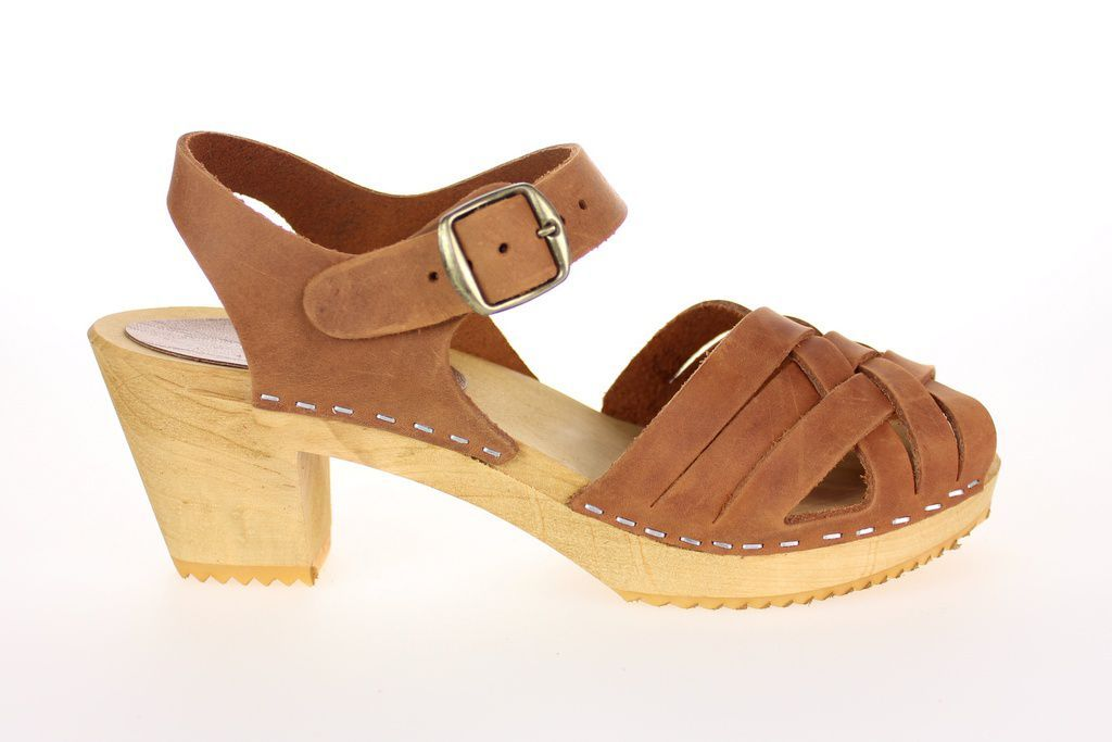 Moheda Betty Cognac Braided High Heel Clogs Side