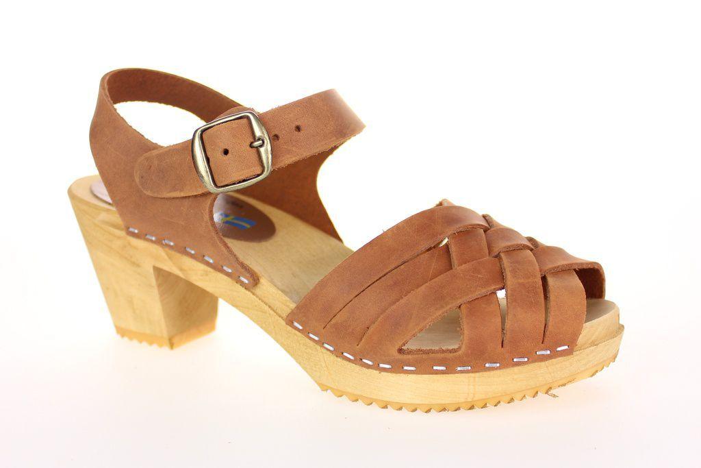 Moheda Betty Cognac Braided High Heel Clogs Main
