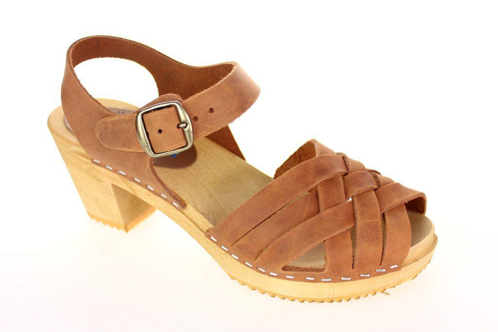 Moheda Betty Cognac Braided High Heel Clogs