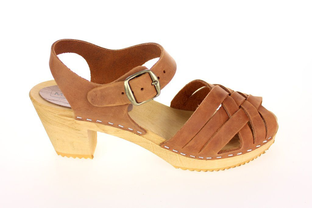 Moheda Betty Cognac Braided High Heel Clogs Side 2