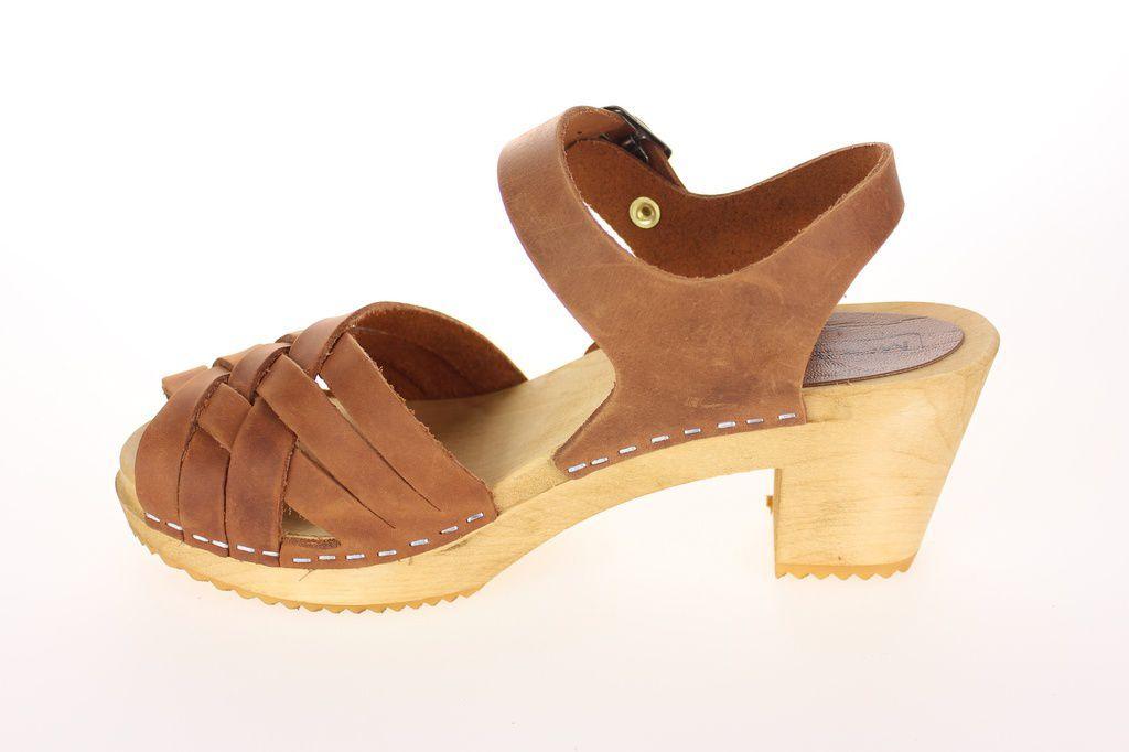 Moheda Betty Cognac Braided High Heel Clogs Rev Side 2