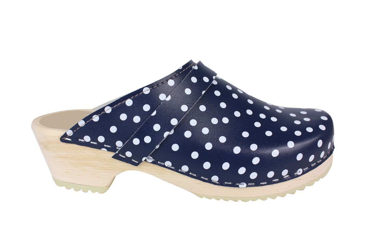 Torpatoffeln Classic Clog in Blue Leather with White Spots Side