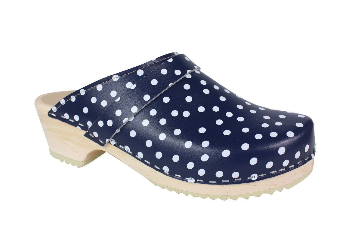 Torpatoffeln Classic Clog in Blue Leather with White Spots Main