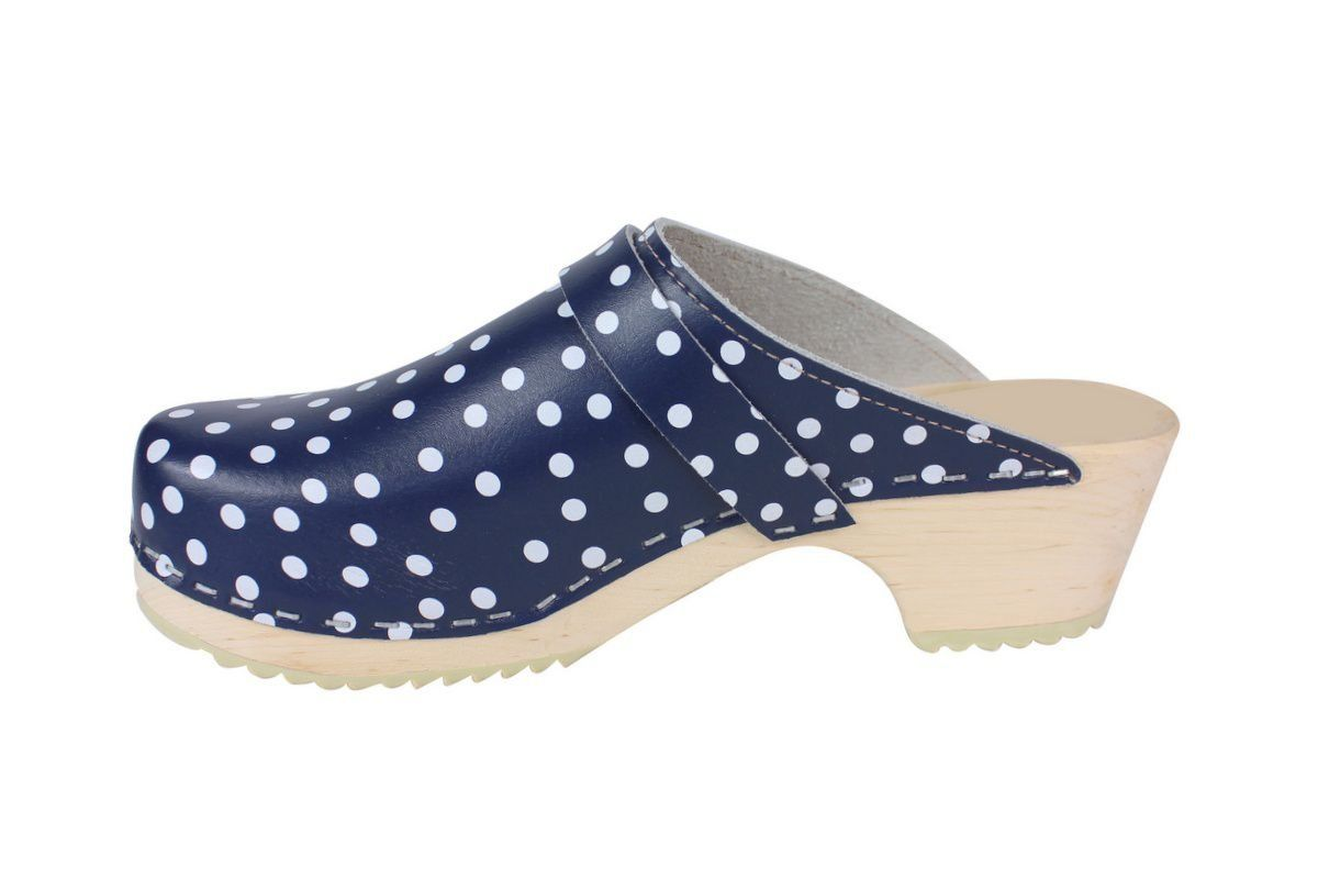 Torpatoffeln Classic Clog in Blue Leather with White Spots Rev Side