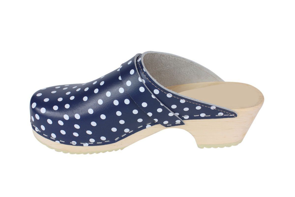 Torpatoffeln Classic Clog in Blue Leather with White Spots Rev Side 2