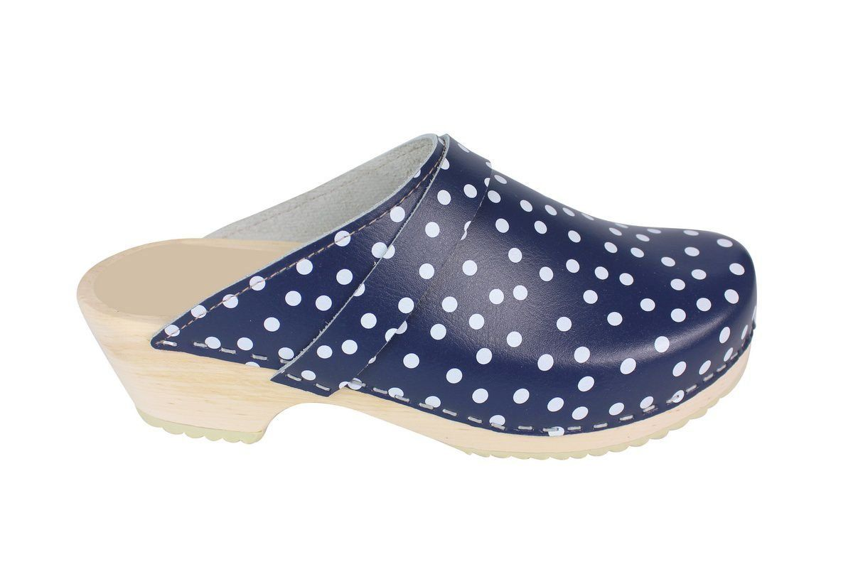 Torpatoffeln Classic Clog in Blue Leather with White Spots Side 2