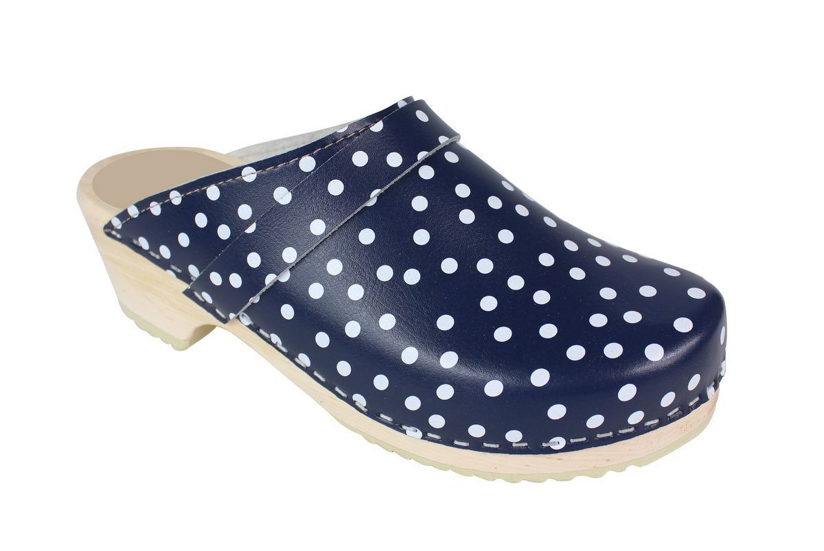 Torpatoffeln Classic Clog in Blue Leather with White Spots