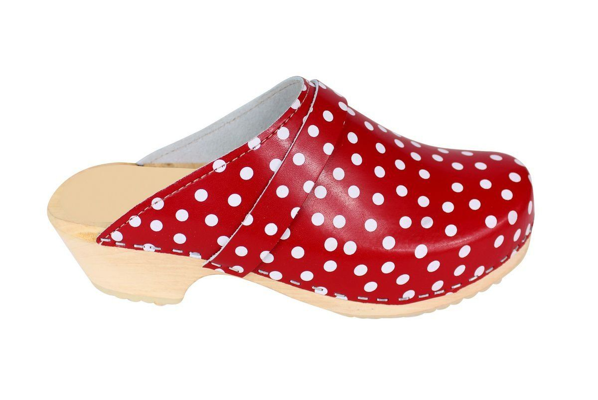 Torpatoffeln Classic Clog in Red Leather with White Spots Side 2