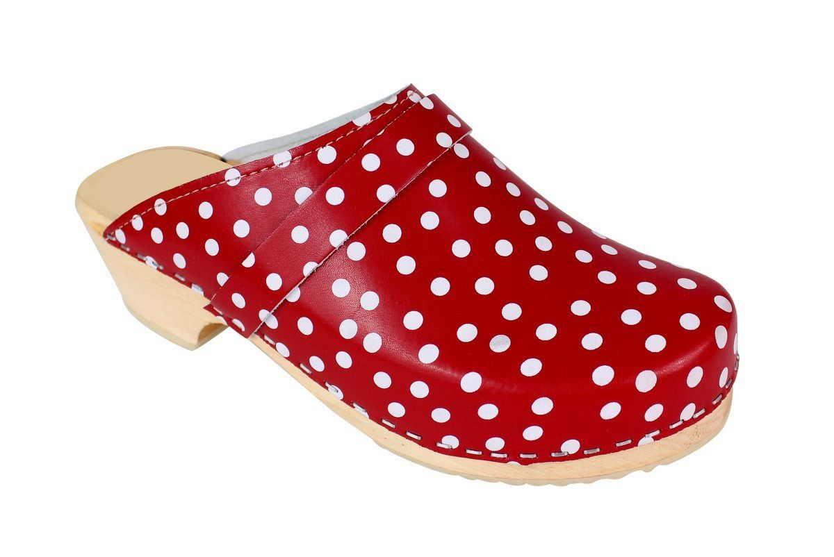 Torpatoffeln Classic Clog in Red Leather with White Spots