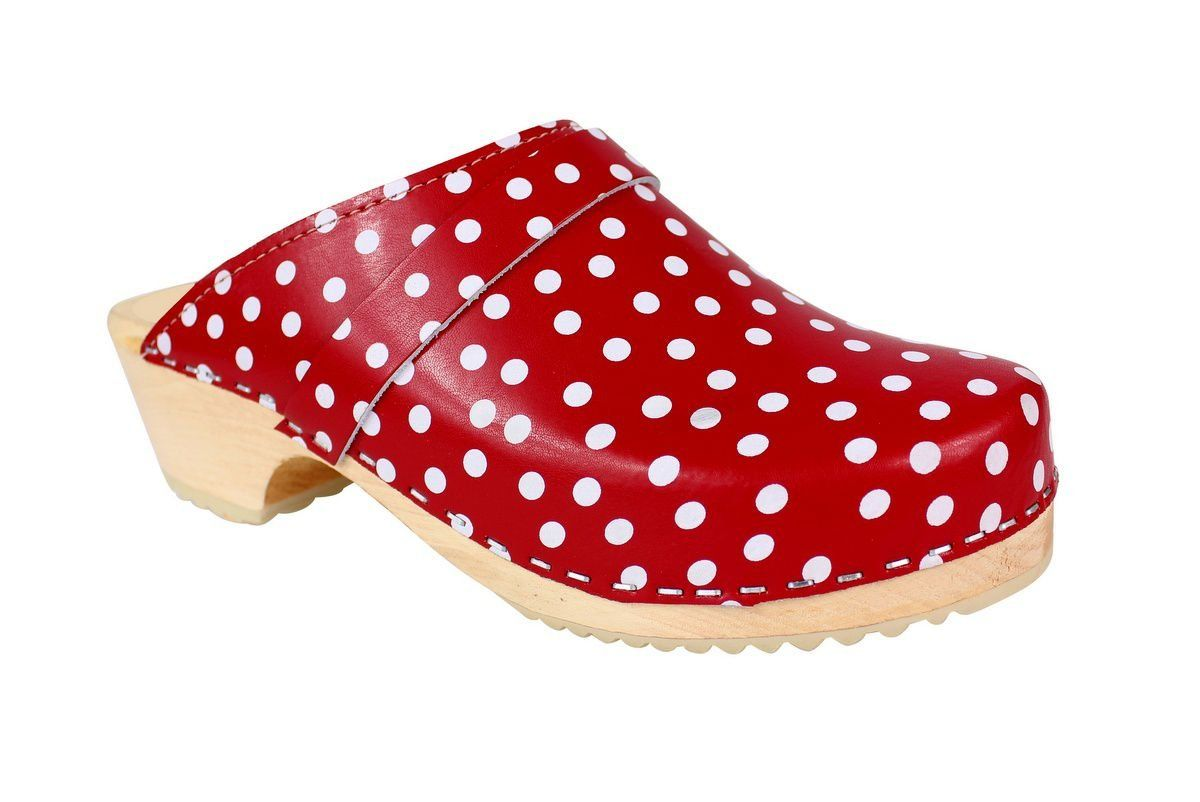 Torpatoffeln Classic Clog in Red Leather with White Spots Main