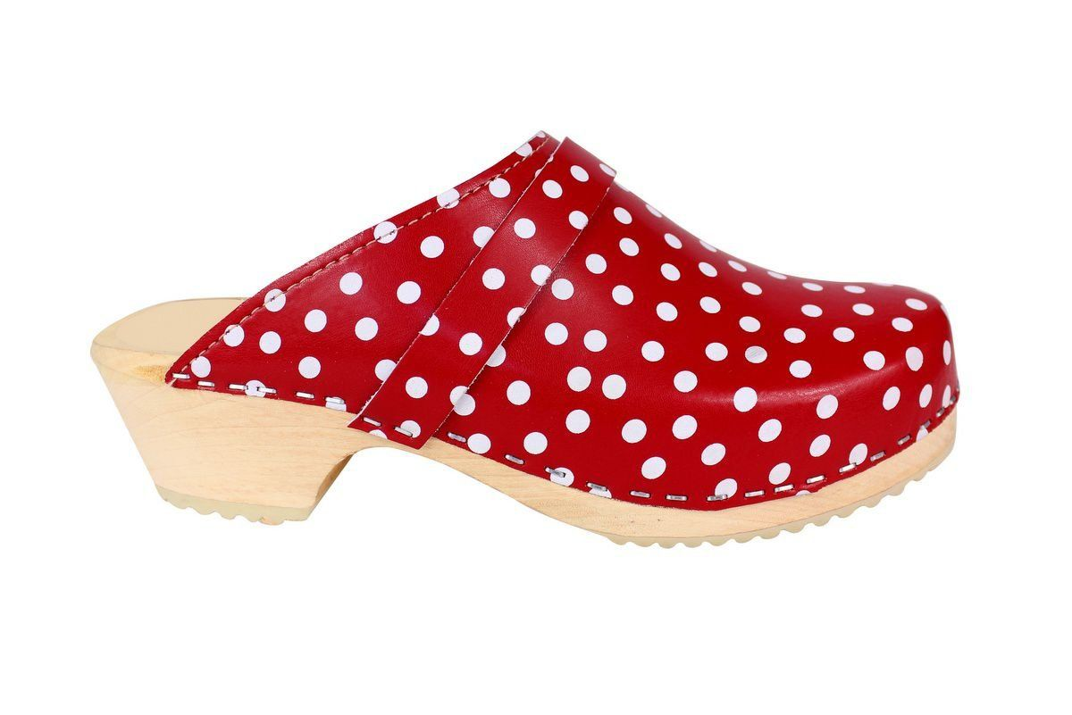 Torpatoffeln Classic Clog in Red Leather with White Spots Side