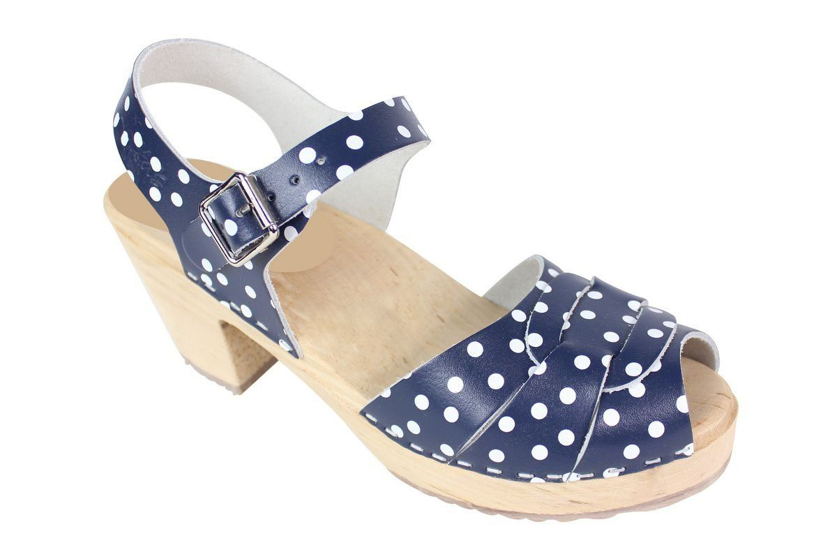 Peep Toe Clogs Blue with White Dots Seconds