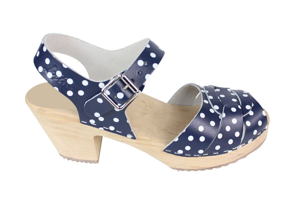Peep Toe Clogs Blue with White Dots Side 2 Seconds