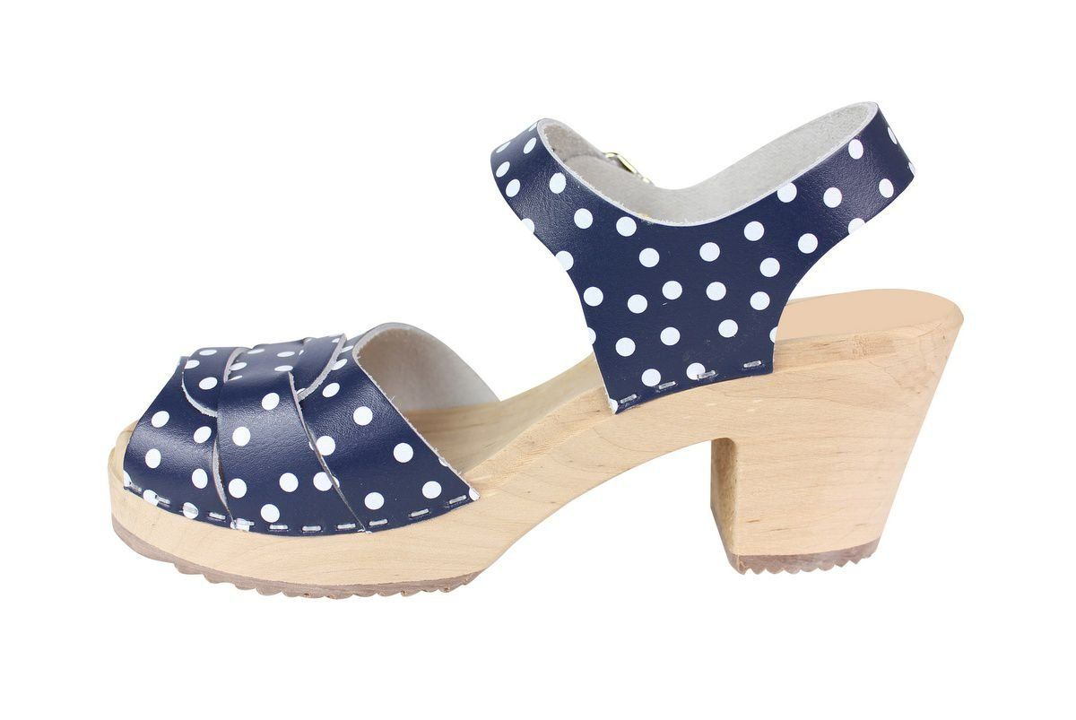 Peep Toe Clogs Blue with White Dots Rev Side Seconds