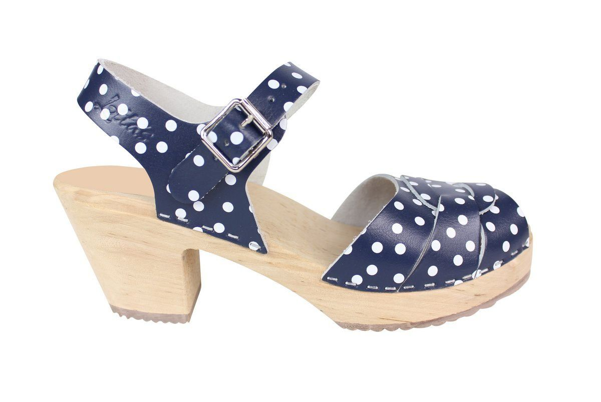 Peep Toe Clogs Blue with White Dots Side Seconds