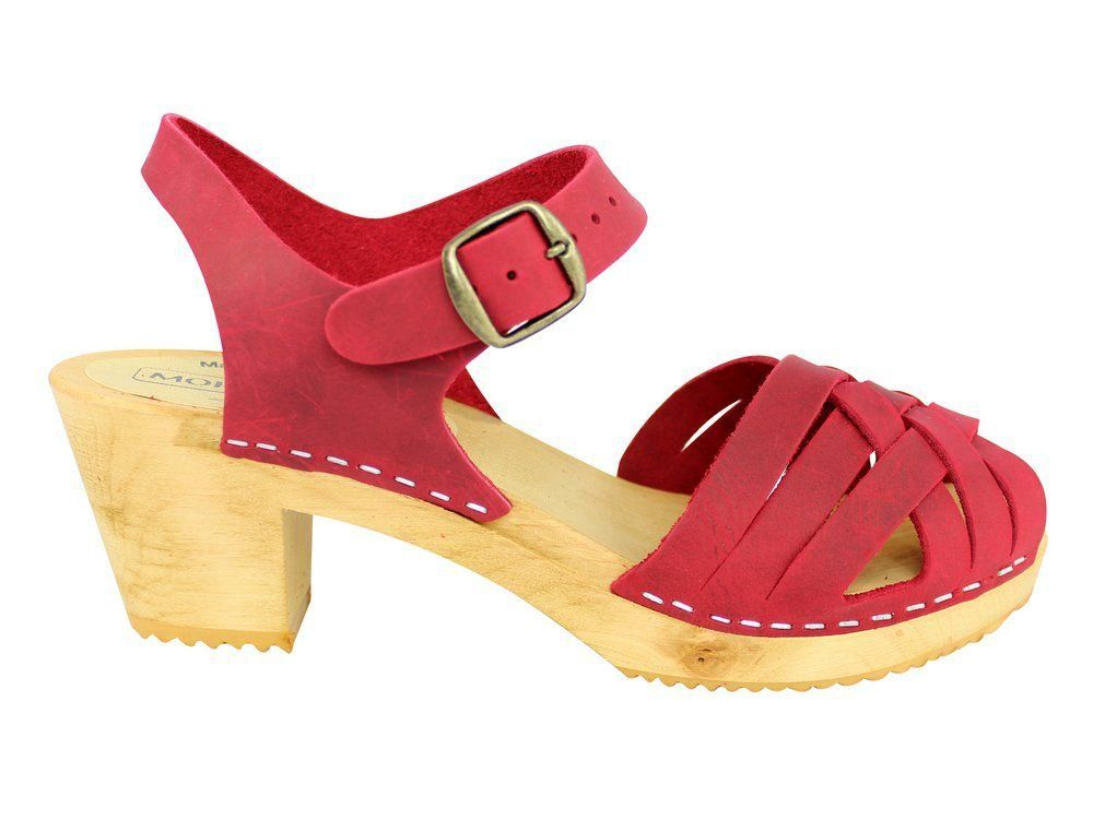 Moheda Betty Red Braided High Heel Clogs Side