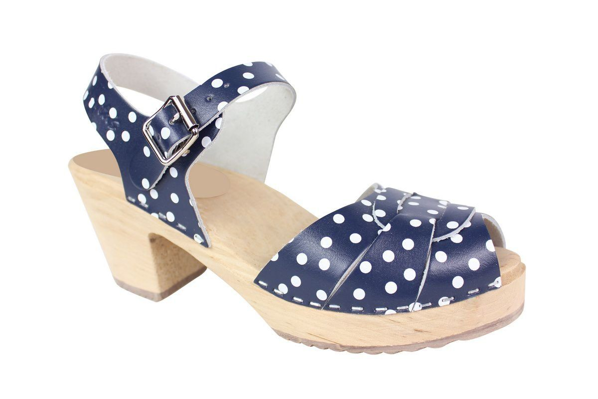 Peep Toe Clogs Blue with White Dots Main Seconds