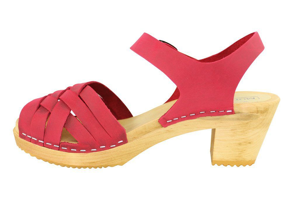 Moheda Betty Red Braided High Heel Clogs Rev Side