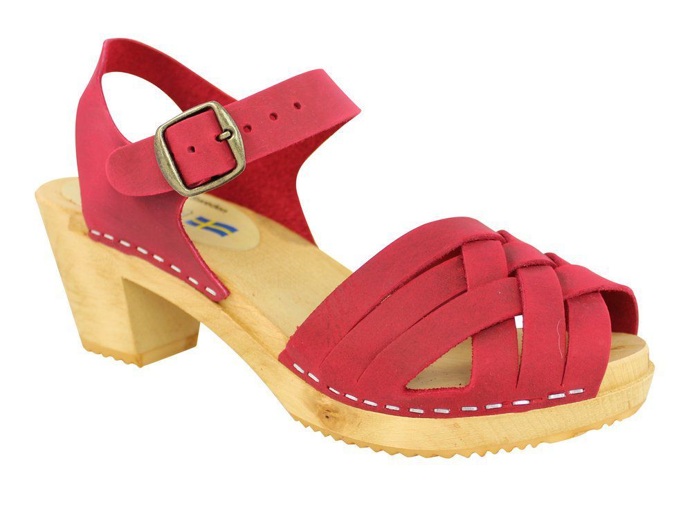 Moheda Betty Red Braided High Heel Clogs Main 2