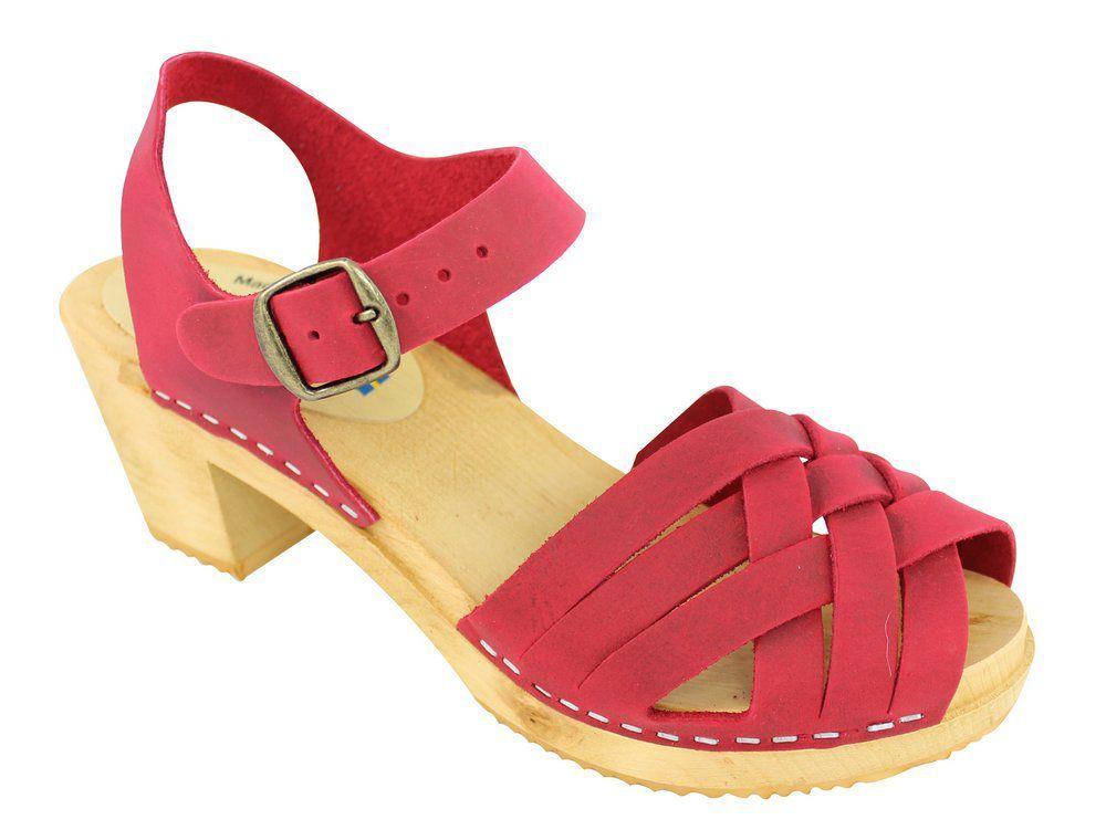 Moheda Betty Red Braided High Heel Clogs Main