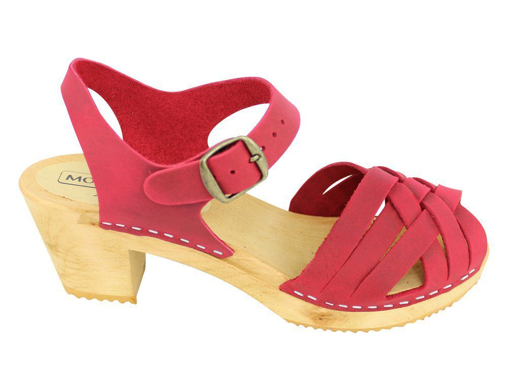 Moheda Betty Red Braided High Heel Clogs Side 2