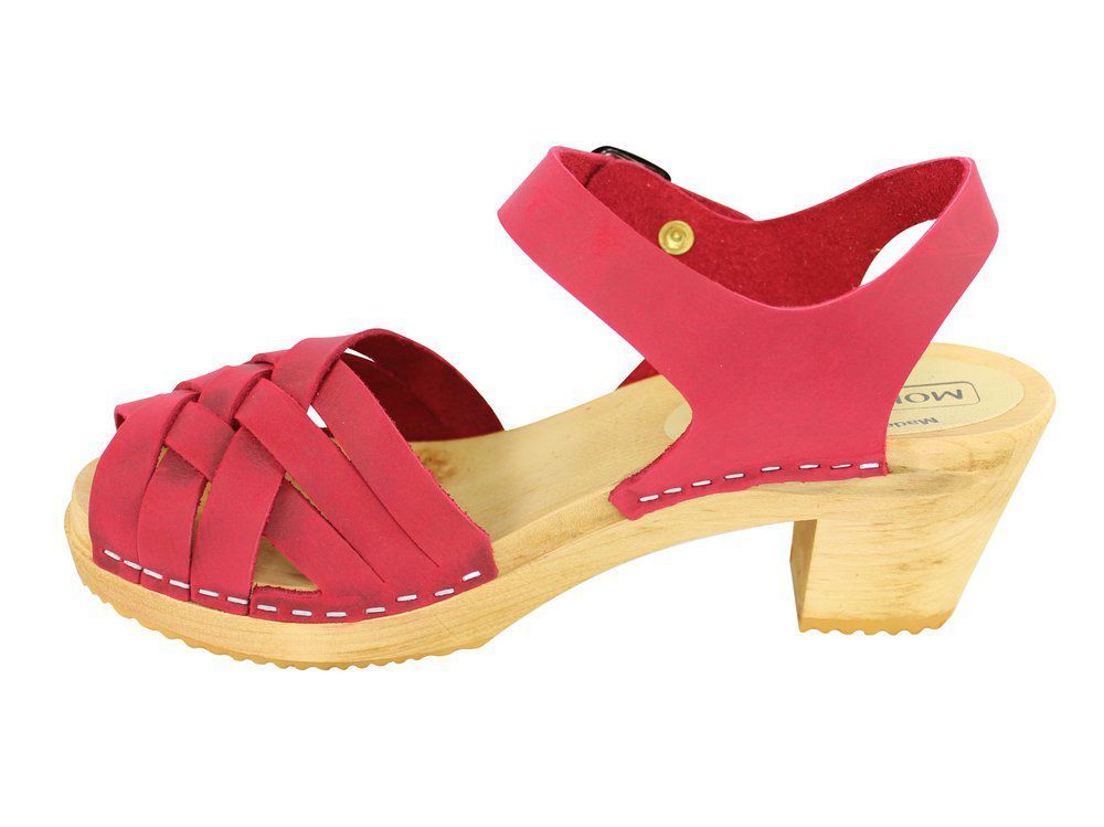 Moheda Betty Red Braided High Heel Clogs Rev Side 2