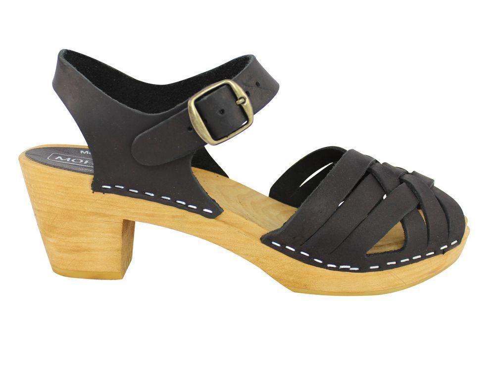 Moheda Betty Black Braided High Heel Clogs Side
