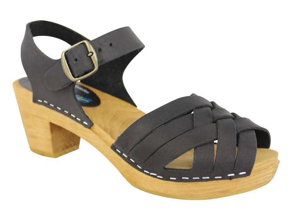 Moheda Betty Black Braided High Heel Clogs Main 2