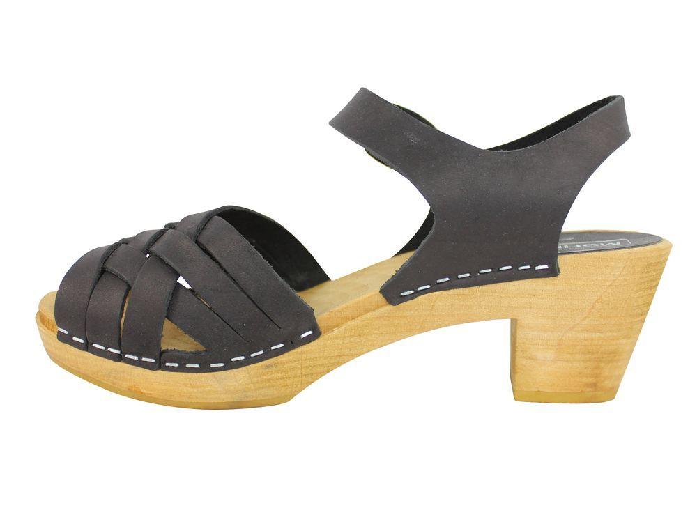 Moheda Betty Black Braided High Heel Clogs Rewv Side