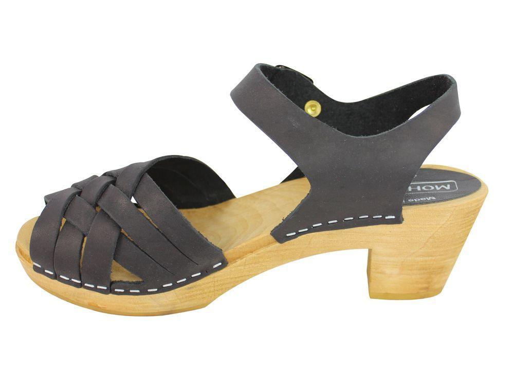 Moheda Betty Black Braided High Heel Clogs Rev Side 2