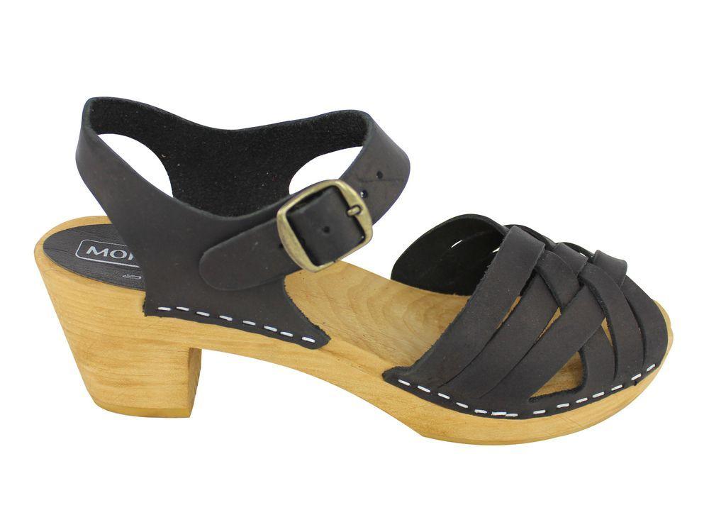 Moheda Betty Black Braided High Heel Clogs Side 2