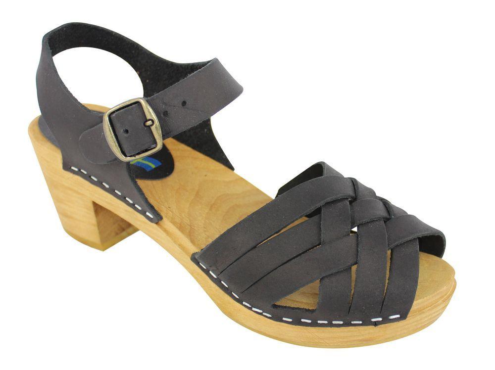 Moheda Betty Black Braided High Heel Clogs Main