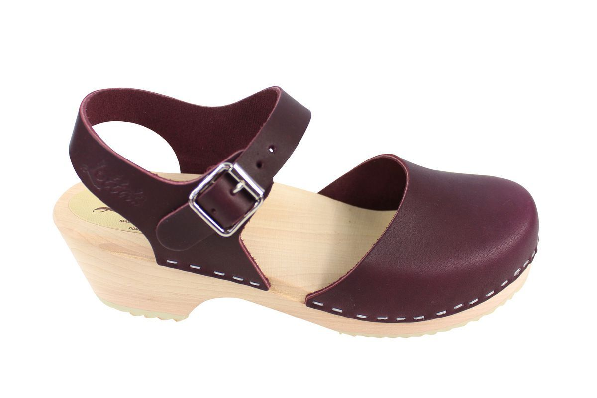 Lotta's Low Wood Closed Toe Aubergine Side 2