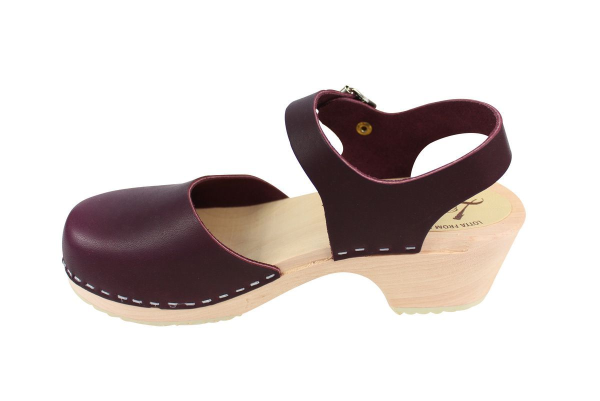 Lotta's Low Wood Closed Toe Aubergine Rev Side 2