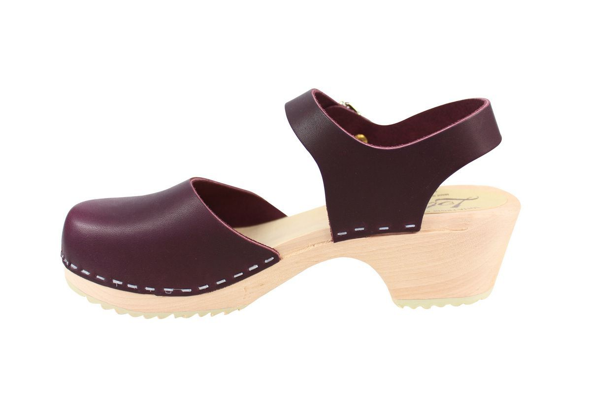 Lotta's Low Wood Closed Toe Aubergine Rev Side