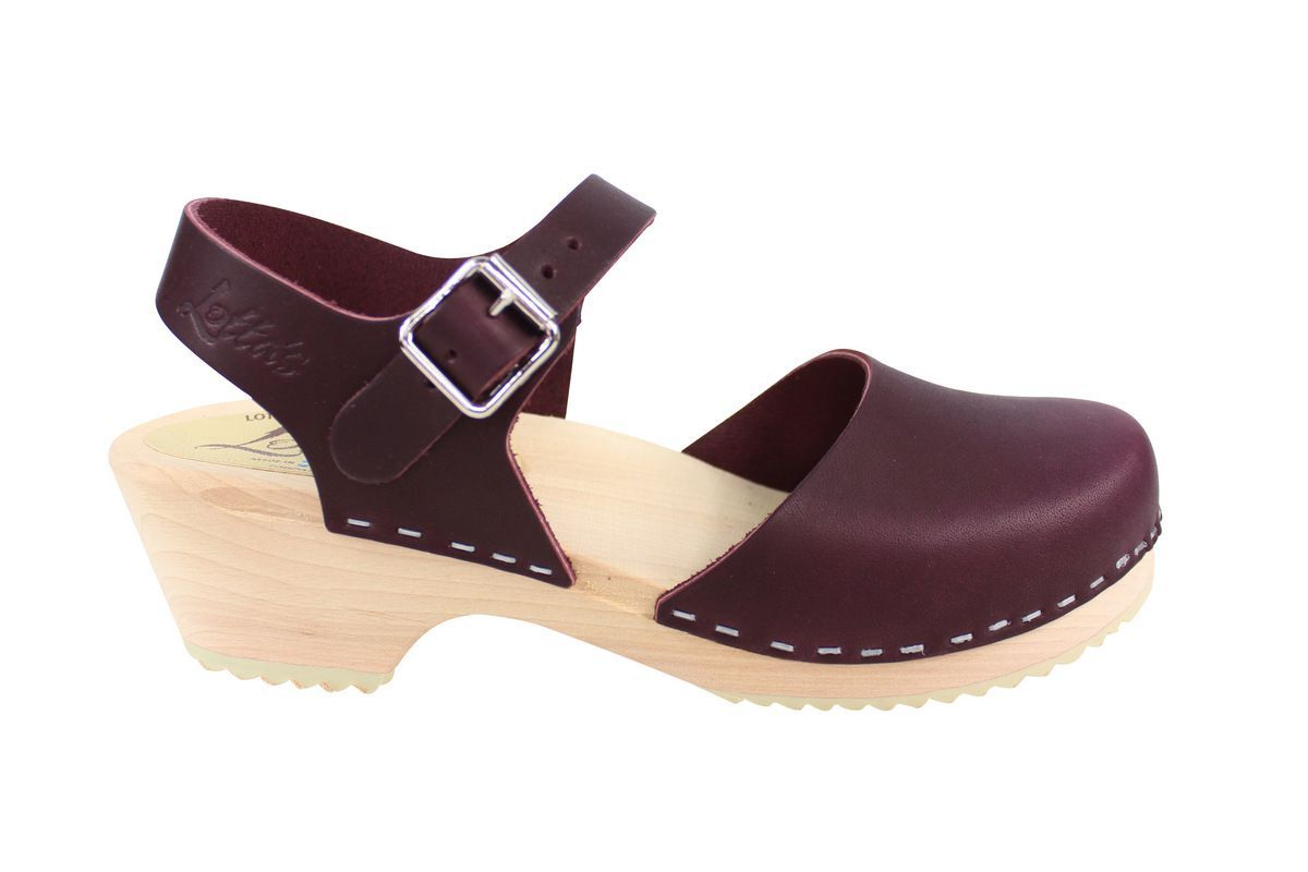 LoLotta's Low Wood Closed Toe Aubergine Side