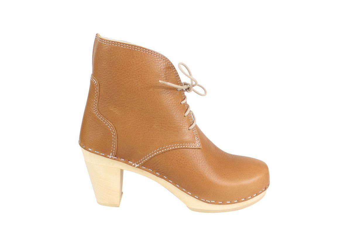Maguba Casablanca High Heel Clog Boot Tan Side