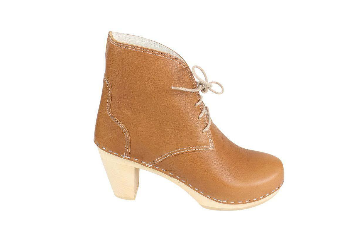 Maguba Casablanca High Heel Clog Boot Tan Side 2