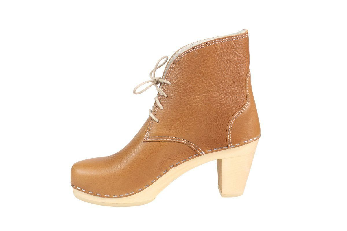 Maguba Casablanca High Heel Clog Boot Tan Rev Side