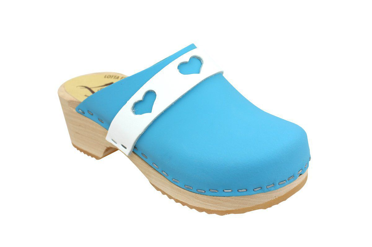 Little Lotta's Kids Clogs in Blue and White Heart