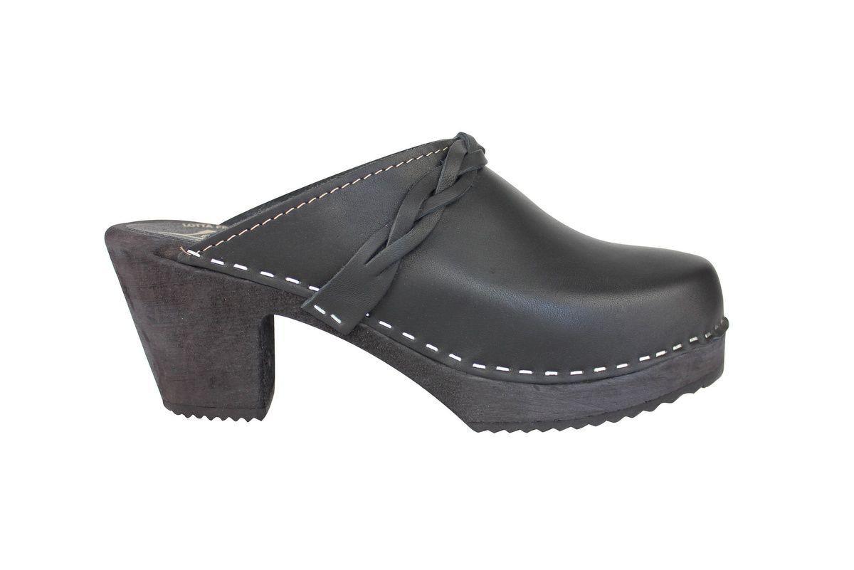 high heel clogs black with black base side