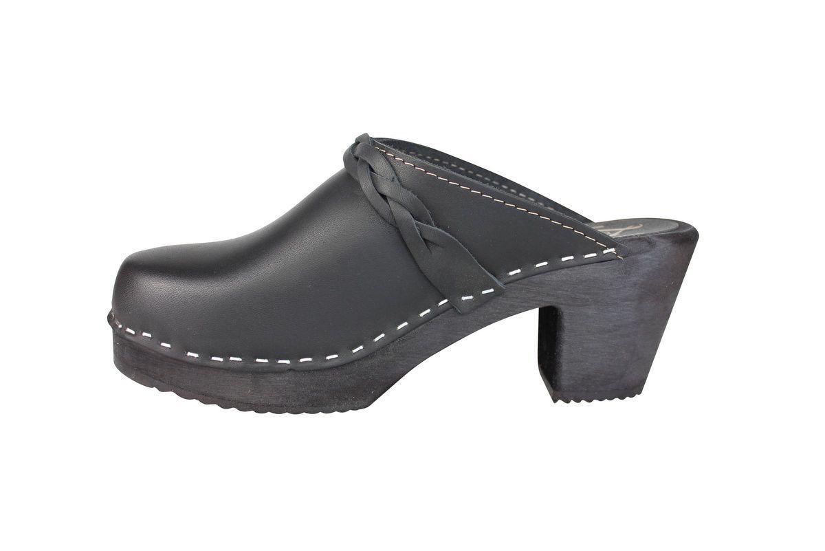 high heel clogs black with black base rev side